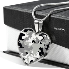Load image into Gallery viewer, Gray Black and White Camouflage Heart Shaped Stainless Steel Pendant Necklace