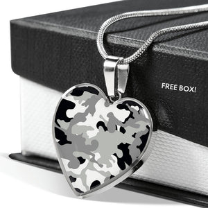 Gray Black and White Camouflage Heart Shaped Stainless Steel Pendant Necklace