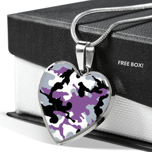 Purple, Gray, Black and White Camouflage Heart Shaped Stainless Steel Pendant Necklace