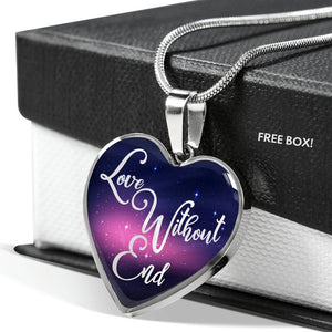 Love Without End Pink and Blue Galaxy Heart Shaped Pendant Necklace