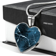 Load image into Gallery viewer, Dark Blue Marble Style Design On Heart Shaped Stainless Steel Pendant