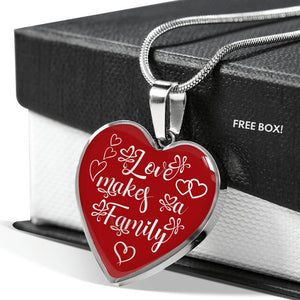 Love Makes a Family Heart Shaped Pendant Necklace