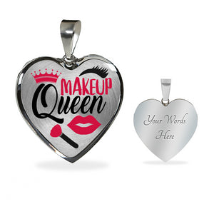Makeup Queen Stainless Steel Heart Shaped Pendant Necklace Gift Set
