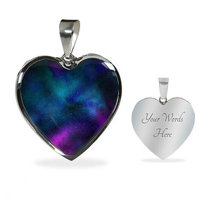 Colorful Galaxy Nebula Space Heart Shaped Pendant Necklace Gift Set