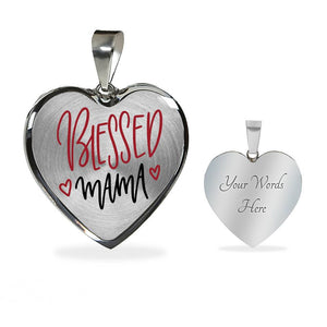 Blessed Mama Pendant Necklace Heart Shaped Stainless Steel or 18K gold with gift box