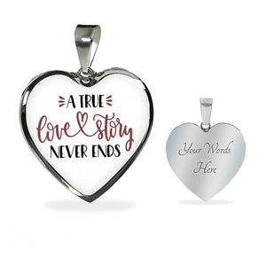 A True Love Story Never Ends Stainless Steel Heart Pendant Luxury Necklace With Gift Box