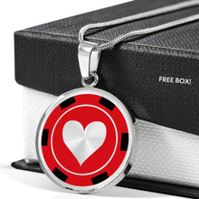 Load image into Gallery viewer, Poker Chip Heart Pendant Necklace Casino Card Game Gambling