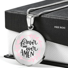 Load image into Gallery viewer, Forever and Ever Amen Light Pink Circle Shaped Pendant Necklace