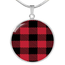 Load image into Gallery viewer, Red Buffalo Plaid Circle Pendant Necklace silver Stainless Steel Optional Engraving on Back