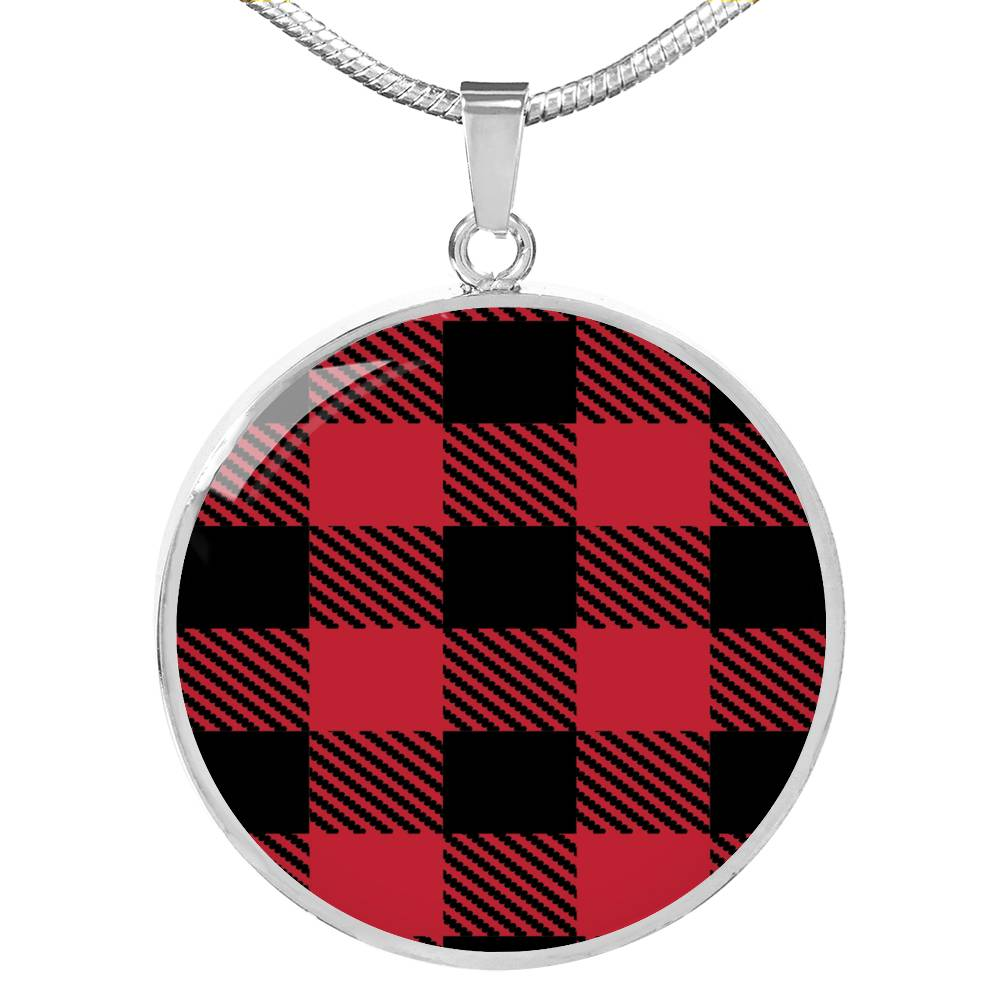 Red Buffalo Plaid Circle Pendant Necklace silver Stainless Steel Optional Engraving on Back
