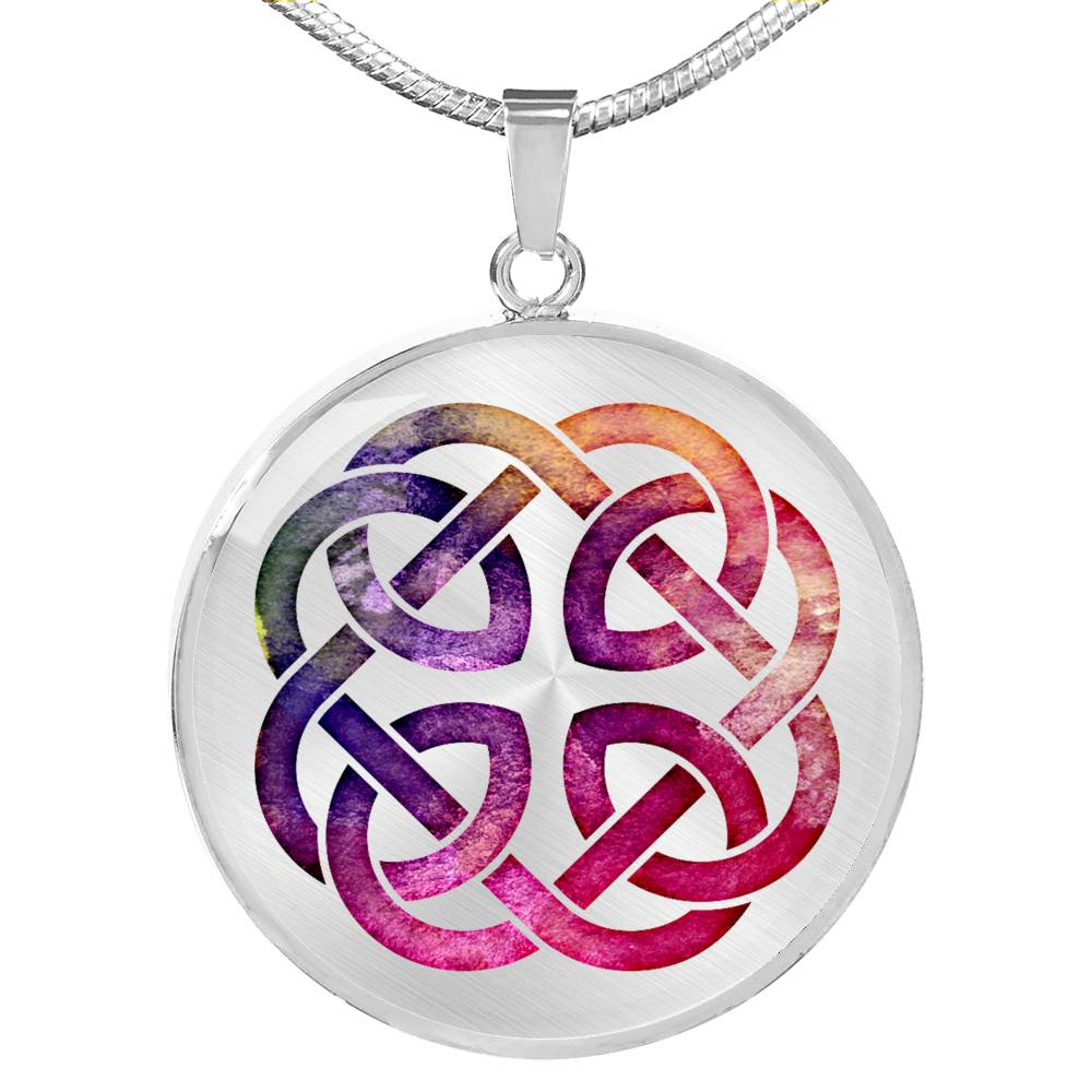 Colorful Watercolor Celtic Knotwork Pendant Necklace Knot