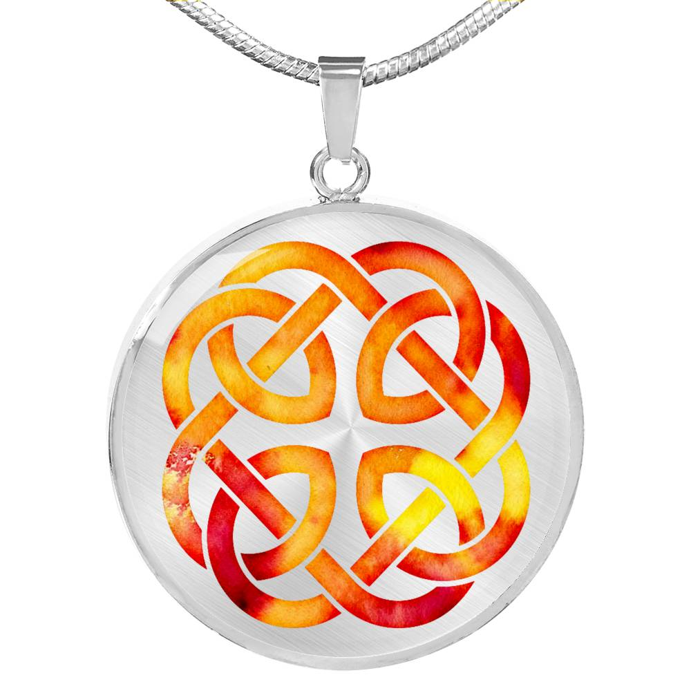 Fire Watercolor Celtic Knotwork Necklace Pendant Knot
