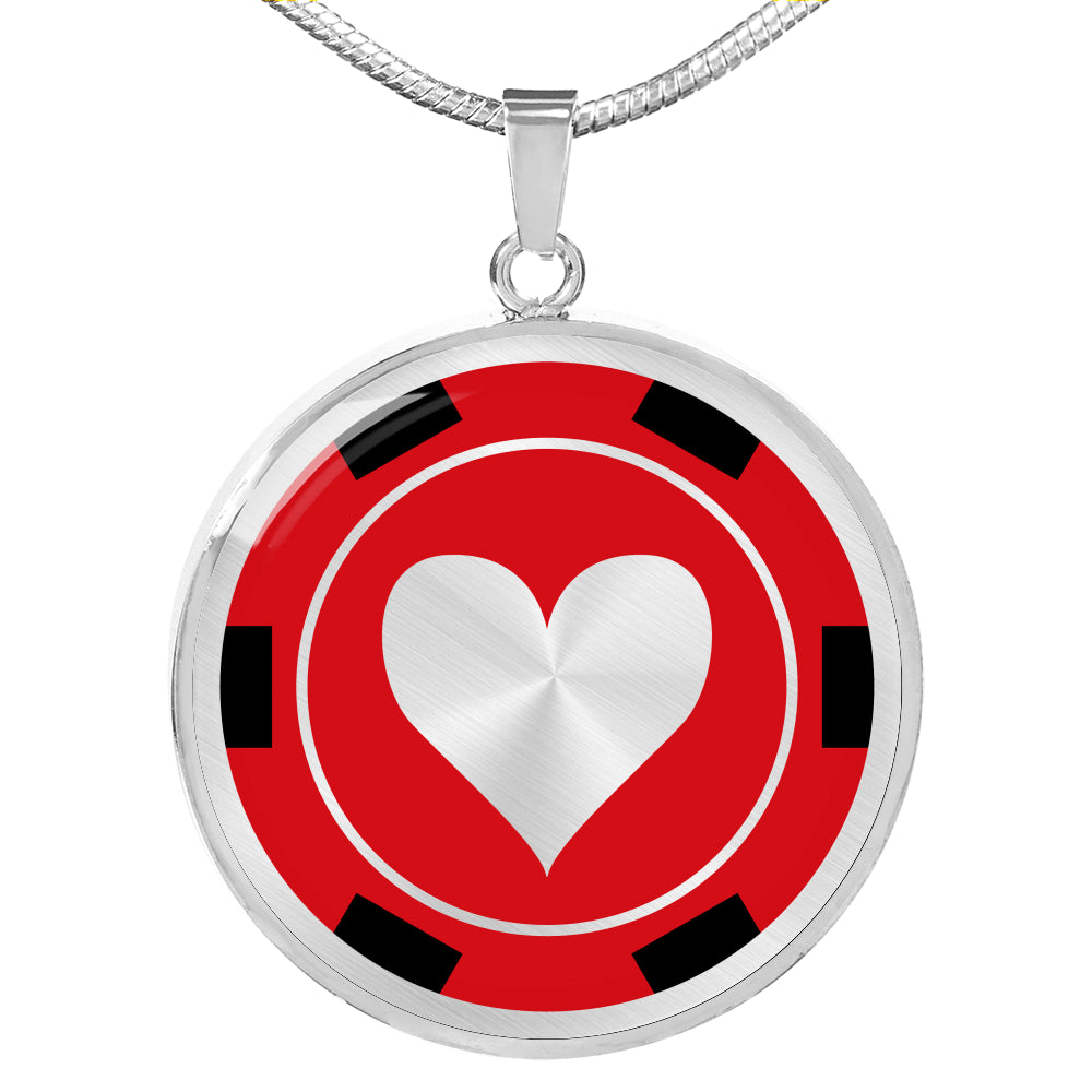 Poker Chip Heart Pendant Necklace Casino Card Game Gambling