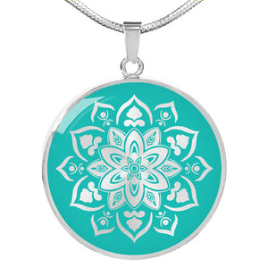 Turquoise Mandala Flower Design on Stainless Steel or 18K Gold Finished Round Circle Pendant Necklace