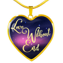 Load image into Gallery viewer, Love Without End Pink and Blue Galaxy Heart Shaped Pendant Necklace