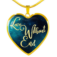 Load image into Gallery viewer, Love Without End Teal Galaxy Heart Shaped Pendant Necklace Gift Set