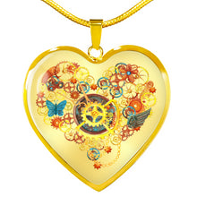 Load image into Gallery viewer, Steampunk Heart With Gears and Butterflies Pendant