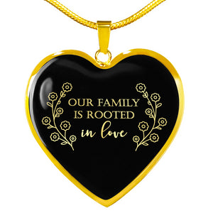 Our Family Is Rooted In Love Black Heart Pendant Necklace