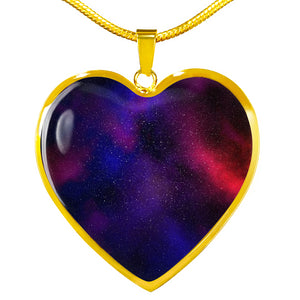 Red Purple and Blue Galaxy Nebula Space Heart Shaped Stainless Steel Pendant Necklace Gift Set