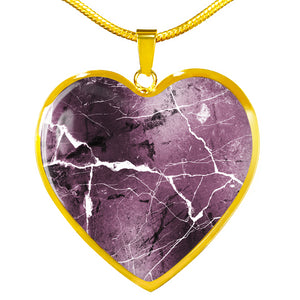 Mauve Marble Design On Stainless Steel Heart Shaped Pendant Necklace