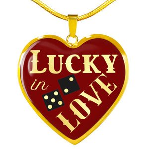 Lucky In Love Dice Red and Black Heart Shaped Pendant Stainless Steel or 18K Gold Finish Necklace Gift Set