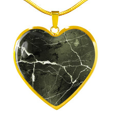 Load image into Gallery viewer, Green Marble Design On Stainless Steel Heart Shaped Pendant