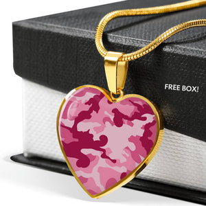 Pink Camouflage Heart Shaped Stainless Steel Pendant Necklace
