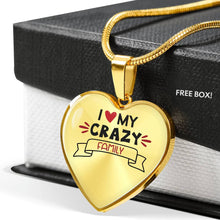 Load image into Gallery viewer, I Love My Crazy Family Heart Shaped Pendant Necklace With Chain And Gift Box