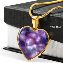 Load image into Gallery viewer, Purple Galaxy Nebula Heart Shaped Stainless Steel Pendant Gift Set