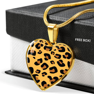 Leopard Print Pendant Necklace Heart Shaped