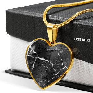 Black Marble Heart Shaped Stainless Steel Pendant