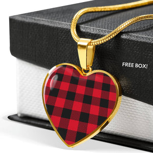 Buffalo Plaid Heart Shaped pendant Necklace Gift Set In Gold or Stainless Steel