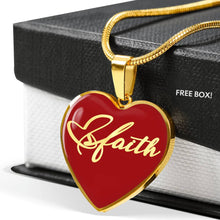 Load image into Gallery viewer, Faith Script On Stainless Steel Heart Shaped Pendant Necklace With 18K Gold Option