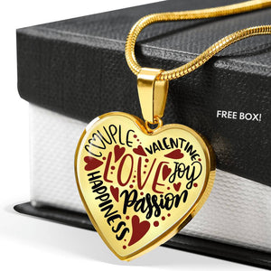 Valentine's Words Love Heart Pendant Necklace With Gift Box