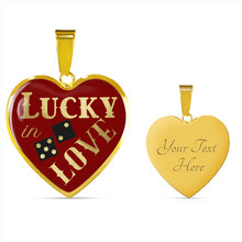 Load image into Gallery viewer, Lucky In Love Dice Red and Black Heart Shaped Pendant Stainless Steel or 18K Gold Finish Necklace Gift Set