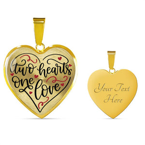 Two Hearts One Love Heart Shaped Pendant Necklace In 18K Gold or Stainless Steel With Chain and Gift Box