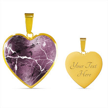 Load image into Gallery viewer, Mauve Marble Design On Stainless Steel Heart Shaped Pendant Necklace
