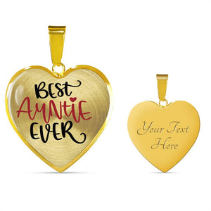 Best Auntie Ever Heart Shaped Pendant Necklace With Chain and Gift Box
