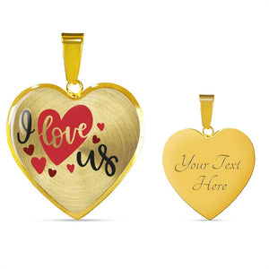 I Love Us Heart Shaped Pendant In 18K Gold or Stainless Steel With Chain and Gift Box