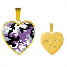 Load image into Gallery viewer, Purple, Gray, Black and White Camouflage Heart Shaped Stainless Steel Pendant Necklace