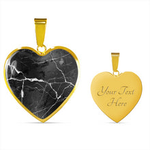 Load image into Gallery viewer, Black Marble Heart Shaped Stainless Steel Pendant