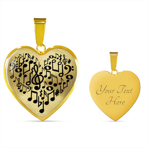 Music Notes Heart Shaped Pendant In Silver or Gold Finish