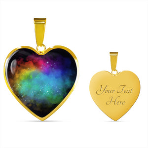Dream Clouds Colorful Rainbow Heart Shaped Pendant Necklace