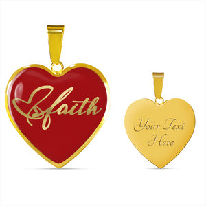 Faith Script On Stainless Steel Heart Shaped Pendant Necklace With 18K Gold Option