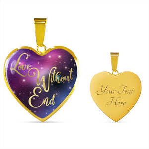 Love Without End Pink Purple Blue Colorful Galaxy Heart Shaped Pendant Necklace