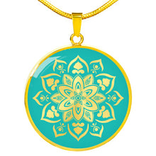 Load image into Gallery viewer, Turquoise Mandala Flower Design on Stainless Steel or 18K Gold Finished Round Circle Pendant Necklace