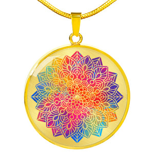 Rainbow Mandala Boho Ethnic Mehndi Circle Pendant Necklace