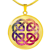 Load image into Gallery viewer, Colorful Watercolor Celtic Knotwork Pendant Necklace Knot