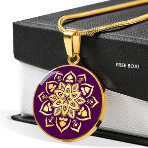 Purple Mandala Flower Design On Stainless Steel or 18K Gold Circle Pendant Necklace