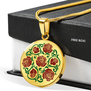 Red and Green Rose Round Pendant Stainless Steel or Gold